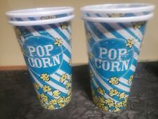 """NEW-Set of 4 Popcorn Cups Vintage Style 8"""" Tall Plastic Containers Movie Theater"""