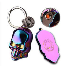 Skull Electric Rechargeable Windproof Flameless USB Cigarette Lighter Keychain