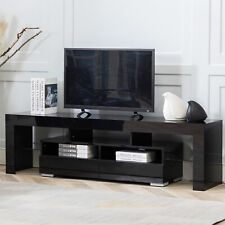High Gloss 63'' TV Stand Unit Cabinet 2 Drawers Console Table w/ Colorful LED RC