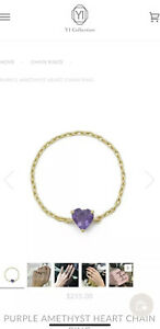 Yi Collection 14k yellow gold amethyst heart chain ring