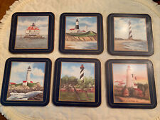 "New listing Pimpernel Coasters Lighthouses Design Cork Backed 4.25"" square-Varied set of 6"