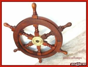 18 Inches Nautical Boat Ship Wheel Brown Wooden Steering Wheel Wall Decor Item