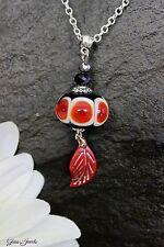 Silber Anhänger + Kette Lampwork Perle Indiander Hippie Feder Glass Jewels#MA023