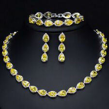 925 Sterling Silver Citrine Vintage Pear Necklace Set 45CM or 18""