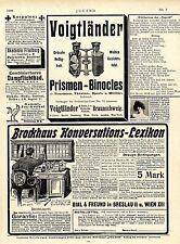 Voigtländer Prismen-Binocles / Carl Zeiss Jena Palmos-Kamaras u.a.Ad 1906