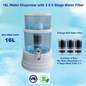 16L Aimex Dispenser 3x 8 Stage Filter Ceramic Mineral Water Purifier Bench-Top