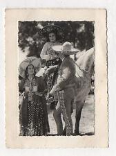 PHOTO ANCIENNE Sombrero Costume traditionnel Mexique Espagne ? Vers 1950 Cheval
