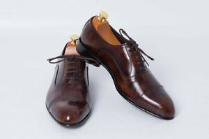 Handmade Men Shaded Brown Leather Oxford Shoes, Formal Dress Shoes