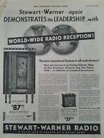 1931 Stewart Warner Tudor console model radio vintage original music ad