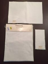 SOUTHERN LIVING Table Runner,4 Napkins & 4 Placemats Cream/Green Stripes NWT