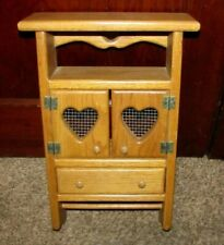 CUTE! Vintage Wooden Heart Cut Out Curio Shelf Cabinet Country Wall Display