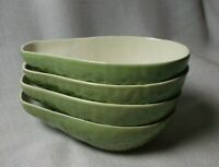 4 VTG Ceramic Dishes Bowls Green Avocado Shaped