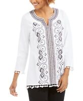 Women's Charter Club NWT White Embroidered Pom-Pom Tunic Top Size Large
