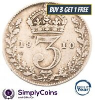 1902 TO 1910 EDWARD VII SILVER THREE PENCES 3d -  CHOICE OF YEAR / DATE