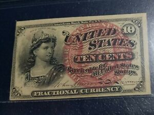 FOURTH ISSUE FRACTIONAL CURRENCY 10 CENTS FR.1258 PMG AU55 EPQ 4th 10c