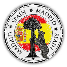 "Madrid City Spain Flag Grunge Travel Stamp Car Bumper Sticker Decal 5"" x 5"""