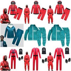 Boys Girs Squid Game Hoodie Tracksuit Pants Set Halloween Party Cosplay Costume