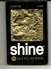 SHINE 24K GOLD CIGARETTE ROLLING PAPERS 1 1/4 SIZE 12 LEAVES PER PACK
