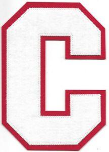 "6"" inch Tall White on Red Block Letterman's Varsity Letter C Felt Patch"