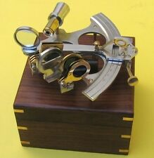 """NAUTICAL Navigation MARINE 6"""" ALUMINUM and BRASS SEXTANT with WOOD BOX New"""