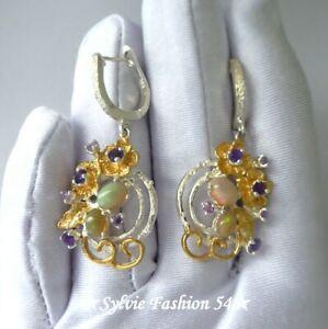😍 Belles Boucles d'oreilles argent 925 or Fleur ciselées Opale et Améthyste