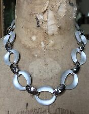 """Lucite Link Necklace - 18.5"""" Alexis Bittar Silver Tone White Silver"""