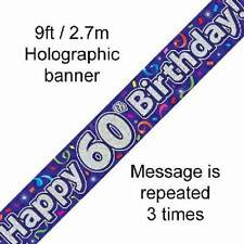 60TH BIRTHDAY PURPLE HOLOGRAPHIC HAPPY BIRTHDAY PARTY BANNER 2.7M (9FT) LONG