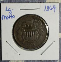 1864 2 CENT PIECE  LG MOTTO COLLECTOR COIN FREE SHIPPING