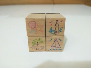 Lot Of 4 Mini Rubber Stamps Lighthouse Shell Starfish Palm Tree Sail Boat Ocean
