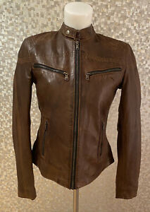 Ladies Fashion Black soft Real leather jacket Style Rose BROWN