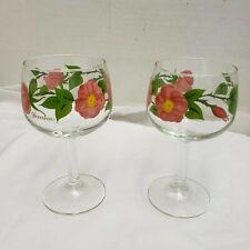 Set of 4  FRANCISCAN DESERT ROSE Glass Stemware Wine  Water Goblets Signed