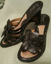 BOC BORN Leather FLOWER WEDGE SANDALS BLACK Women's SIZE 8 SPRING/SUMMER PERFECT