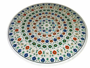 54 Inches Semi Precious Stones Inlay Dining Table Top Marble Conference Table