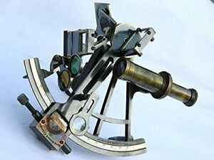 "9"" Solid Brass Sextant Henry Barrow & Co. London-Marine Gift With Leather case"
