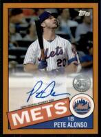 2020 Topps Chrome 1985 Orange Auto #85TCA-PA Pete Alonso /25 - New York Mets