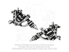 Alchemy Tattoo Gun Pair of Stud Earrings ULFE3, pewter/jewellery/ink/machine