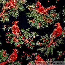 BonEful Fabric FQ Cotton Quilt Red Gold Cardinal Xmas Pine*Cone Tree Bird Berry