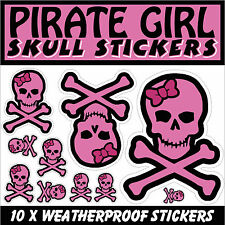 Pirate Skull Girl Stickers Pink Decal Cut graphics Weatherproof set