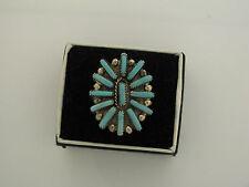 Violet Jeffrey Begay signed sterling silver Navajo cluster ring turquoise 9 USA