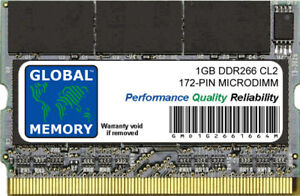 1GB DDR 266MHz PC2100 172-PIN MICRODIMM MEMORY RAM FOR LAPTOPS/NOTEBOOKS