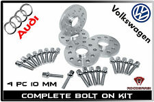 Complete Set Audi VW 5x100 5x112 10MM Thick Wheel Spacers + Conical Lug Bolts
