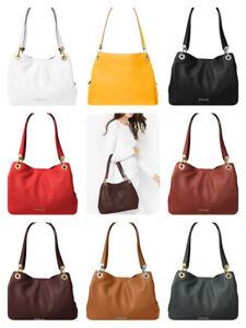 Michael Kors Women Raven Pebbled Leather Large Shoulder Bag Purse