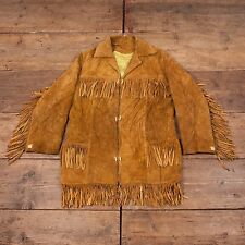 Womens Vintage Western Rancher Leather Tassel Jacket Brown M Size 10-12 R4642