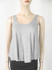 AQUA Ribbed Jersey Knit Tank Top Heather Grey S $38 9598 BM13