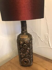 Handcrated Bottle Table Lamp.  Steampunk.  With choice of Shade.