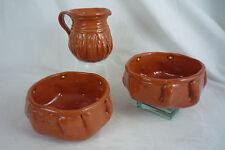 Set 3 Studio Pottery Marearl Denning -2 Bowls & Pitcher -Southwestern Terracotta