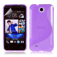 HTC Desire 300 MORADO S Patrón Goma Silicona Gel Suave Fino Ajustado Funda
