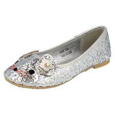 niña rosa / PLATA Spot On Deslumbrante Brillante Zapatos Dolly SIN CIERRES