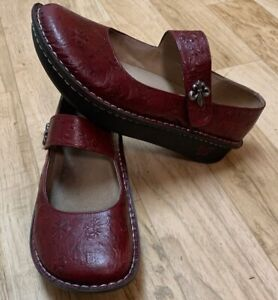 ALEGRIA PALOMA PAL-537 WOMENS DEEP RED TOOLED LEATHER MARYJANES CLOGS SHOES  41