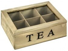 Kitchen Wooden 6 Compartments Hinged Lid Container Storage Holder TEA Chest Box